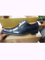 SKU#SS-8412 Mens Navy Blue Cap Toe Lace Up Leather Shoe$99