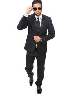 SKU#SM381 2 Button Notch Lapel Slim Fit Satin Collar Black Tuxedo Double Vented