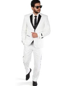 SKU#SM399 White 2 Button Slim Fit Notch Lapel Satin Line Tuxedo Pants