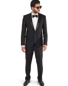 SKU#SM395 1 Button Peak Lapel Tuxedo Cotton Blend Slim Fit Flat Front Pants Black