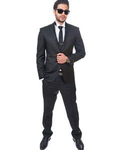 SKU#SM391 Men 2 Button Trim Collar Slim Fit Black Tuxedo Single Center Vent