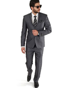 SKU#SM396 2 Button Men Trim Collar Grey Slim Fit Suit / Tuxedo