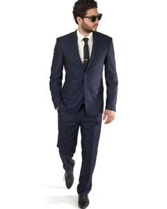 SKU#SM393 Navy Blue Slim Fit Men 2 Button Trim Collar Suit / Tuxedo With Single Center Vent