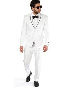 SKU#SM398 2 Button Trim Collar White Slim Fit Men Suit / Tuxedo With Single Center Vent