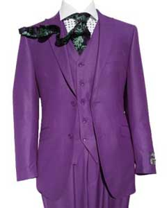 SKU#SM441 Three Piece Slim Fit Purple Vested Suit Peak Lapel$165
