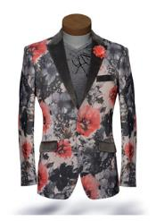 SKU#SS-8413 Mens black Lapel Tuxedo Dinner Jacket Looking Blazer Sport Jacket Coat / Suit With Sheen Hot Pink ~ fuchsia