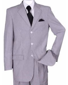 SKU#SS-875 Men's 3 buttons Summer Seersucker Suit Striped Jacket & Pants Included$149