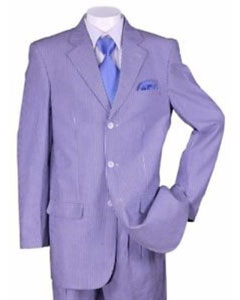 SKU#SS-965 Men's Summer Seersucker Suit 3 buttons Striped Jacket & Pants Included Blue$149