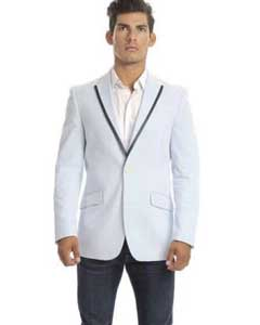 SKU#SM573 Men's Light Blue Single Breasted Seersucker Slim Fit 2 Button$139