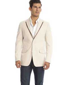 SKU#SM579 Men's Tan Stripe Pattern Seersucker Slim Fit Italian Styled Blazer$139