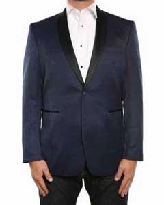 SKU#SM578 Men's Blue Textured Tuxedo Shawl Collar Slim Fit Blazer