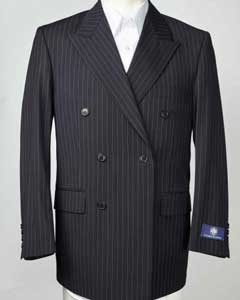 SKU#SM603 Mens Navy Peak Lapel Pinstripe Double Breasted Blazer