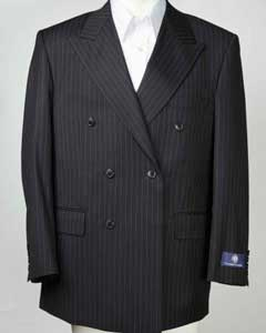 SKU#SM609 Mens Pinstripe Double Breasted Black Peak Lapel Blazer