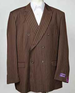 SKU#SM600 Mens Brown Pinstripe 6 Button Double Breasted Peak Lapel Blazer