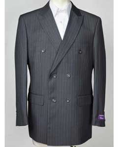 SKU#SM608 Mens Peak Lapel Pinstripe Blue 6 Button Double Breasted Blazer