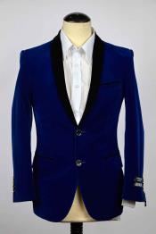SKU#SM601 Mens 2 Button Royal And Black Shawl Lapel Slim Fit Single Breasted Blazer