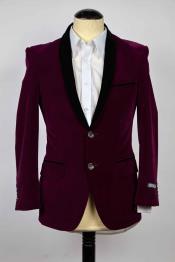 SKU#SM604 Mens Single Breasted Purple And Black Shawl Lapel 2 Button Slim Fit Blazer