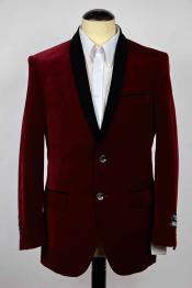 SKU#SM613 Mens Slim Fit 2 Button Single Breasted Burgundy And Black Shawl Lapel Blazer