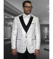 SKU#SM682 Floral White Mens Shiny Satin Tuxedo Dinner Jacket Blazer Paisley Sport Coat Sequin Shiny Flashy Silky Satin Stage Fancy Stage Party Dance Jacket