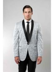 Mens Tuxedo Floral Satin Shiny Black Lapel Two Toned Blazer Dinner Jacket Paisley Sport Coat Sequin Shiny Flashy Silky Satin Stage Fancy Stage Party Dance Jacket Silver Light Gray ~ Grey