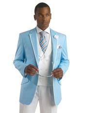 SKU#SM704 Mens Light Sky Blue Ocean Powder With White Trim Tuxedo