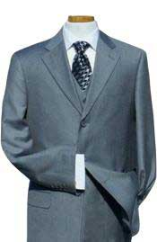 Light Gray with Super 140s Extra Fine 3pc with Vest Back