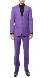 SKU#SM819 Men's Purple 2 Button Classic Notch Lapel Slim Fit Single Breasted Suit