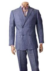SKU#SM833 Men's 100% Linen Suit With Double Breasted Blazer Denim Blue Sport Coat Jacket Style