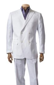 SKU#SM847 Men's White 100% Linen Suit With Double Breasted Blazer Peak Lapel Sport Coat Jacket Style