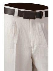 SKU#SM849 Men's One Pleat Off White 100% Linen Pants