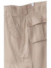 SKU#SM859 Men's 100% Linen Cargo White Pants