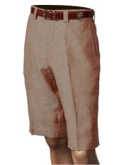 SKU#SM853 Inserch/Merc Copper Men's Linen Flat Front Shorts