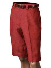 SKU#SM867 Red Inserch/Merc Men's Pleated 100% Linen Flat Front Shorts