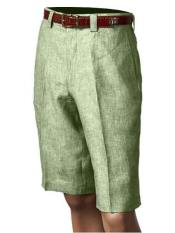 SKU#SM862 Men's Inserch/Merc Pleated 100% Linen Flat Front Shorts Green