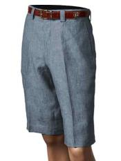 SKU#SM866 Men's Inserch/Merc Denim Blue Pleated Flat Front Shorts 100% Linen