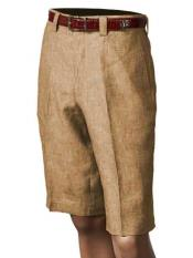 SKU#SM860 Men's Inserch/Merc Pleated Flat Front Shorts Khaki 100% Linen