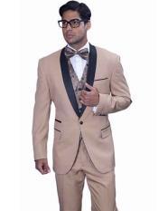 KU#SM904 Men's Shawl Lapel Tan ~ Beige ~ Khaki 1 Button Wool Cap Three Piece Statement Tuxedo Suit
