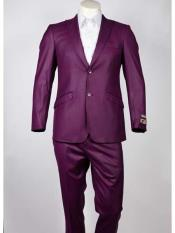 SKU#SM968 Men's Slim Fit Peak Lapel 2 Button Single Breasted Purple Suit