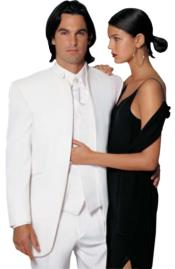 Fitted Fitc Cut Mirage Tuxedo Satin Mandarin Collar (White) No Buttons