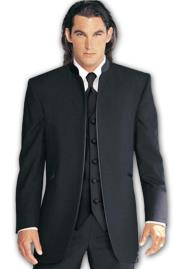SKU#M27 Mirage Tuxedo Satin Mandarin Collar (Solid Black ) No Buttons $199