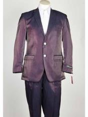 SKU#SM1026 Men's Shiny Notch Lapel Single Breasted Closure Purple ~ Burgundy 2 Button Pinstripe Suit