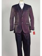 SKU#SM1032 Men's Purple 3 Piece Shiny Sharkskin Notch Lapel Rhinestone Pinstripe Suit