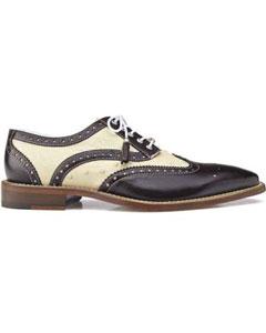 SKU#SM1034 Men's Danilo Genuine Ostrich Italian Calf Brown/Bone Exotic Skin Shoes