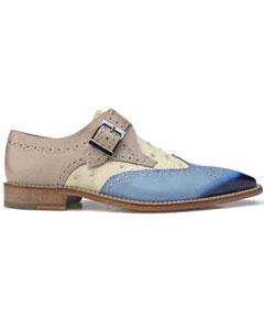 SKU#SM1031 Men's Furio Genuine Lizard Italian Calf Skin Light Blue/Bone/Taupe Shoes