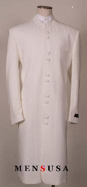 SKU#MUHM4 OFF White Matrix Style White 45 Icnh Full Length Mandarin Collar 10 Button (5x2) $595