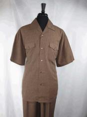 SKU#SM1137 Short Sleeve Brown Taupe Single Breasted 5 Buttons Walking Shirt With Pleated Pant Set