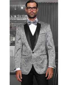 Men's Statement 3 Piece Tuxedo Casino Modern Fit Bellagio Suits Shiny Silver