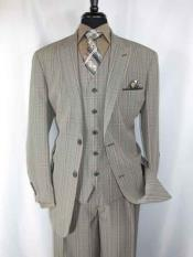 SKU#SM1177 Men's Classic Plaid Pattern 2 Button Peak Lapel Single Breasted Taupe Vested Suit