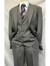 SKU#SM1210 Men's Stacy Adams Brand Two Button Gray 1920s Style Mart Vested Solid 3 Piece Single Breasted Suit