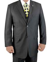 SKU#SM1216 Men's Stacy Adams Brand 3 Piece Black Two Button Fine Stripe Single Breasted Vested Suit